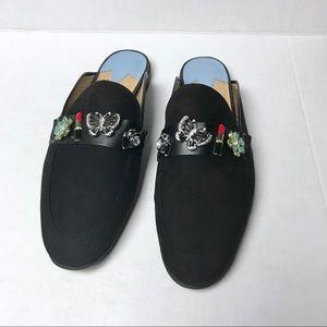Libby Eldelman Black Paige Charm Embellished Mules